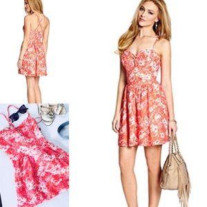 Guess Floral Bustier Criss Cross Babydoll Dress